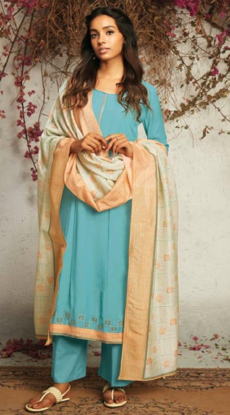 Ganga Presents The Summer Of Love Pure Muslin Silk Solid With Embroidery and Work Salwar Suit 7534