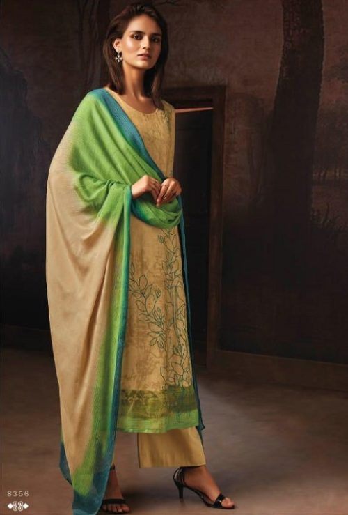Ganga Presents Tvisha Pure Bemberg Silk Printed With Handwork Salwar Suit 8356
