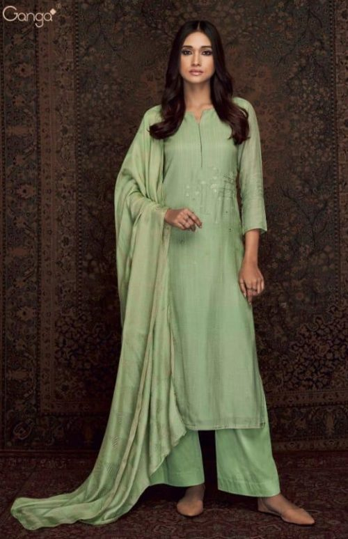 Ganga Presents Woven Graces Pure Silk Wool Printed With Embroidery Salwar Suits C-0001