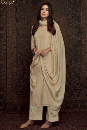 Ganga Presents Woven Graces Pure Silk Wool Printed With Embroidery Salwar Suits C-0006