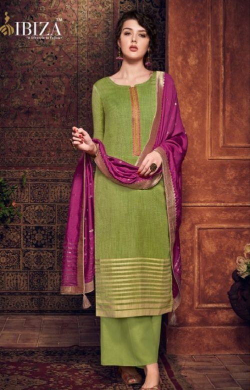 Ibiza Presents Silkoria Pure Pashmina With Jacquard Weaving With Fancy Embroidery Salwar Suit 429