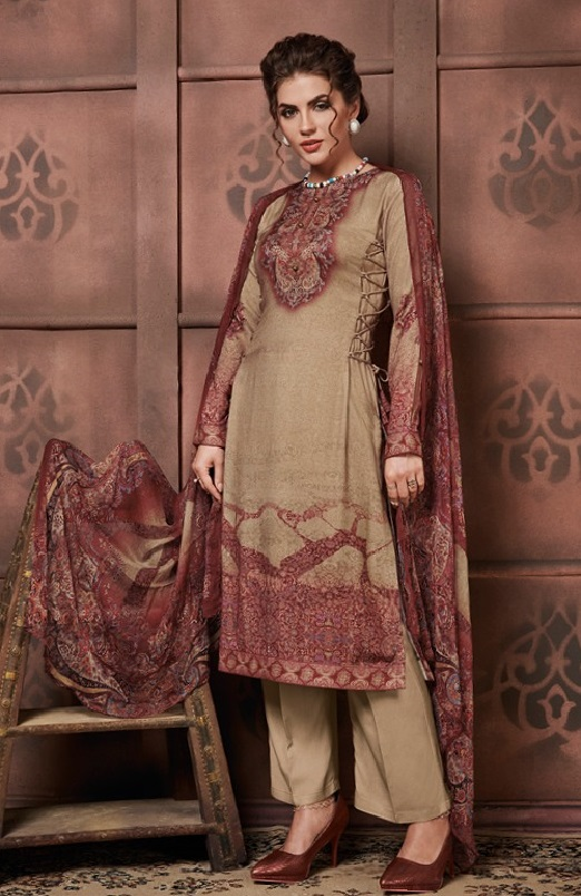Jinaam Presents Kashmira Digital Printed Staple Pashmina With Embroidery Salwar Suit 8117