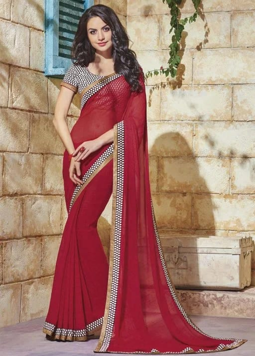 Jinaam Roma Presents Partywear Sarees Printed Soft Georgette with Designer Thread Work Saree 01