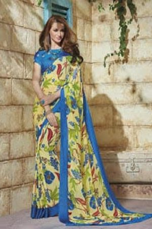Jinaam Roma Presents Partywear Sarees Printed Soft Georgette with Designer Thread Work Saree 02