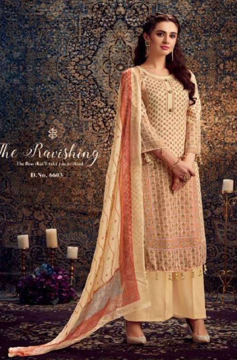 Kesar Presents Gulbagh Pure Pashmina Digital Style Printed Salwar Suit 6603