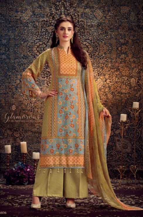 Kesar Presents Gulbagh Pure Pashmina Digital Style Printed Salwar Suit 6606