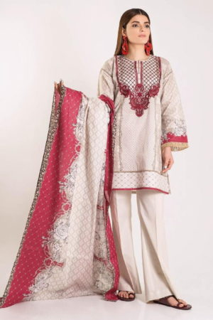 Khaadi Linen 2019 Original Pakistani Linen Embroidered Front and Printed Back Designer Salwar Suit 03