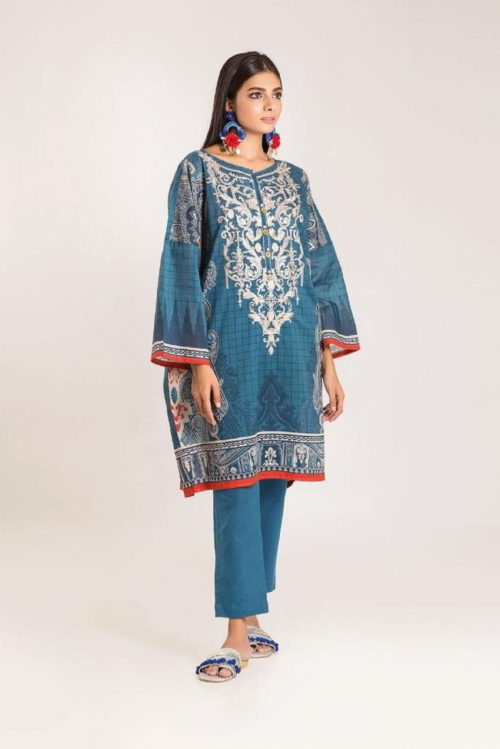 Khaadi Linen 2019 Original Pakistani Linen Embroidered Front and Printed Back Designer Salwar Suit 04