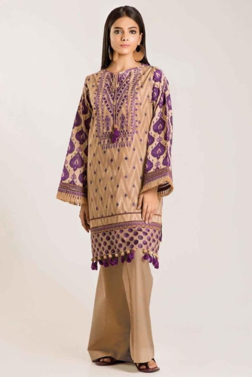 Khaadi Linen 2019 Original Pakistani Linen Embroidered Front and Printed Back Designer Salwar Suit 08