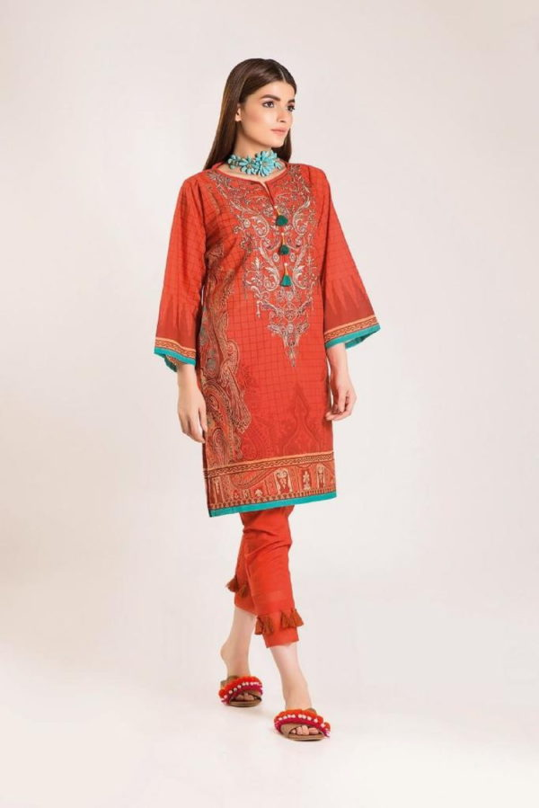 Khaadi Linen 2019 Original Pakistani Linen Embroidered Front and Printed Back Designer Salwar Suit 10