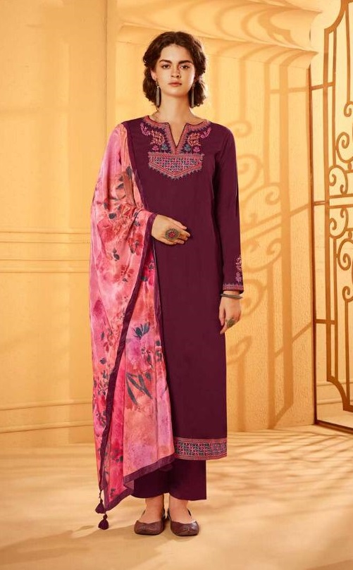 Kimora Presents Heer 59 Velvet Shagun Silk With Embroidery Designer Ladies Suit 9881