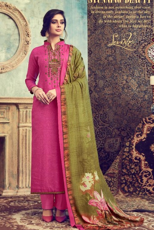 Levisha Presents Maridel Pure Pashmina Print With Self Embroidery Salwar Suit 4519