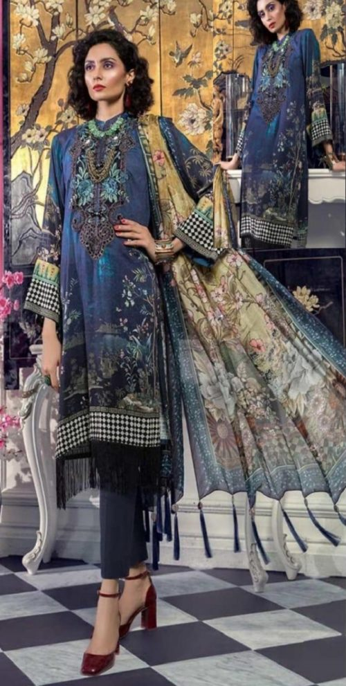 Maria B Presents M Prints Pure Cambric Print Original Pakistani Salwar Suit M-4B