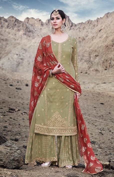 Mohini Fashion Presents Glamour 74 Georgette With Santoon Inner with Work Designer Suit 74001