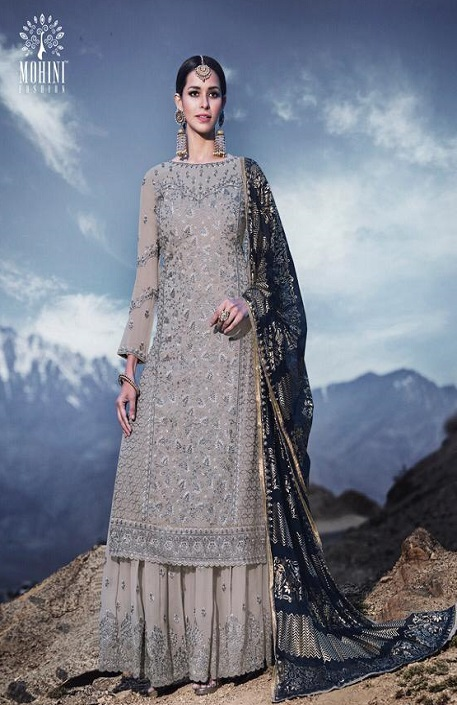 Mohini Fashion Presents Glamour 74 Georgette With Santoon Inner with Work Designer Suit 74002