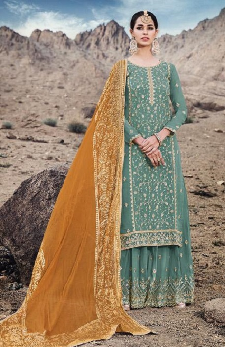 Mohini Fashion Presents Glamour 74 Georgette With Santoon Inner with Work Designer Suit 74003