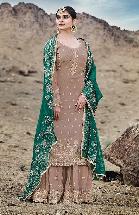 Mohini Fashion Presents Glamour 74 Georgette With Santoon Inner with Work Designer Suit 74006