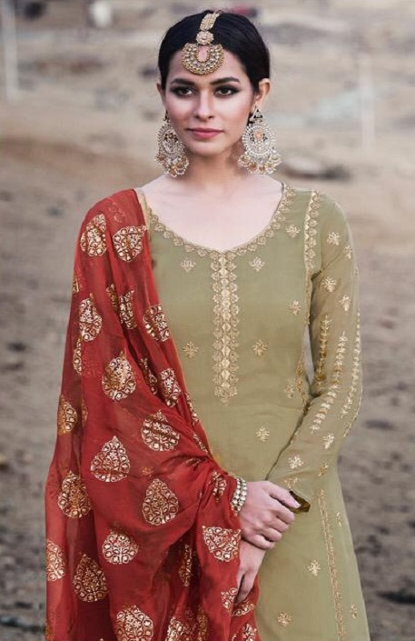 Mohini Fashion Presents Glamour 74 Georgette With Santoon Inner with Work Designer Suits 74001