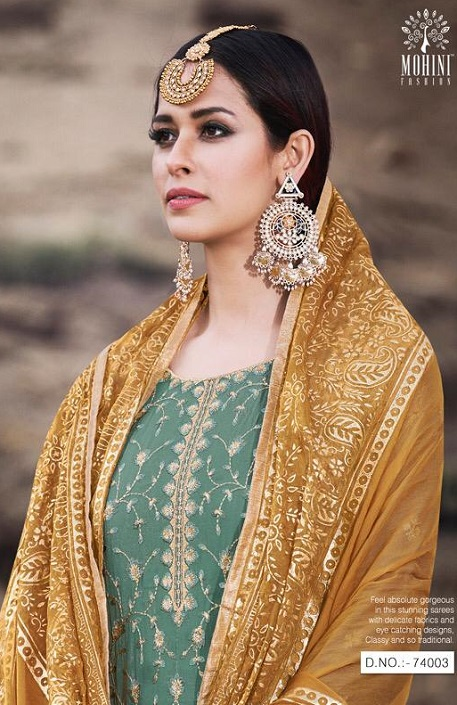 Mohini Fashion Presents Glamour 74 Georgette With Santoon Inner with Work Designer Suits 74003