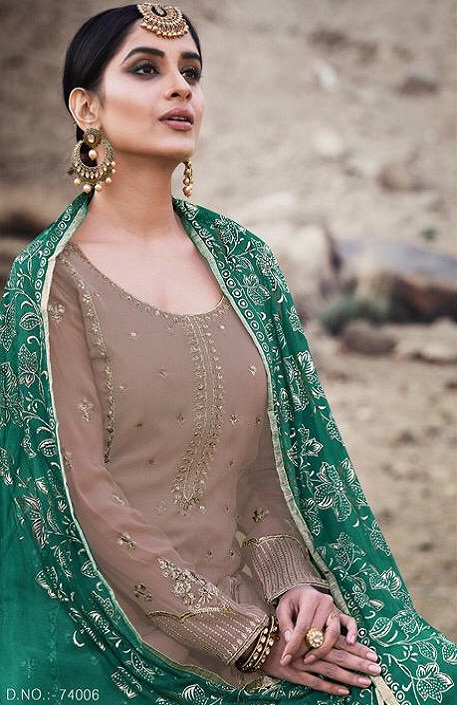 Mohini Fashion Presents Glamour 74 Georgette With Santoon Inner with Work Designer Suits 74006