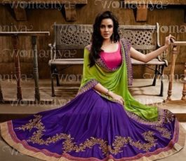 Nakkashi On Sale Embroidered Skirt In Purple Georgette With Blouse Designer Saree 9018