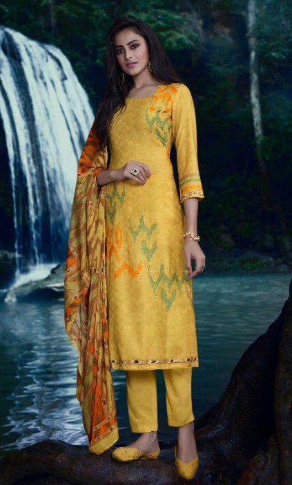 Omtex presents Annya Lawn Cotton Digital Print With Cross Stitch Embroidery And Handwork suits 871