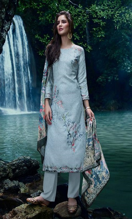 Omtex presents Annya Lawn Cotton Digital Print With Cross Stitch Embroidery And Handwork suit 872