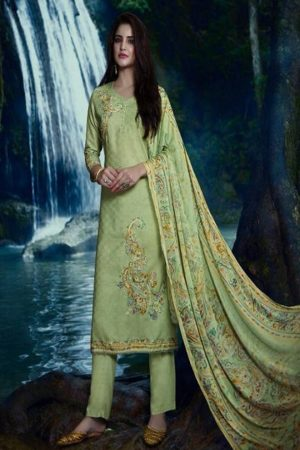 Omtex presents Annya Lawn Cotton Digital Print With Cross Stitch Embroidery And Handwork suits 873