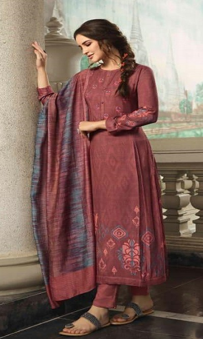 Sahiba Sudriti Presents Maya Winter Collection Pashmina Digital Print With Embroidery Suits 498
