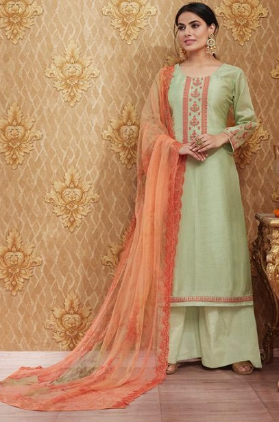 Sajjan Relssa Presents Kalki Tusssar Silk With Fancy Embroidery Work Salwar Suit 25002