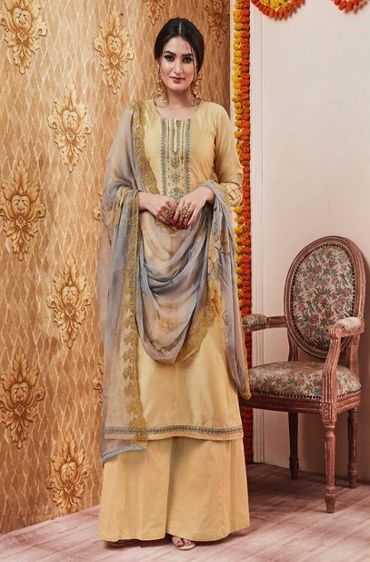 Sajjan Relssa Presents Kalki Tusssar Silk With Fancy Embroidery Work Salwar Suit 25004