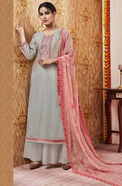 Sajjan Relssa Presents Kalki Tusssar Silk With Fancy Embroidery Work Salwar Suits 25006