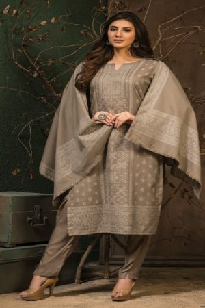 Tacfab Naariti Presents Jamawaar Winter Collection Pashmina Weaving Suit 5043