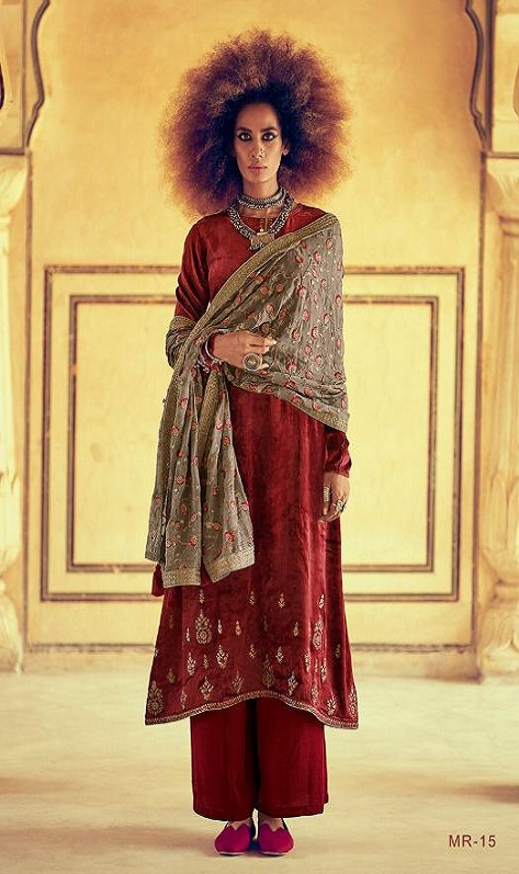 Varsha Fashions Presents Mehreen Pure Velvet With Cording Embroidery Work Salwar Suits MR-14