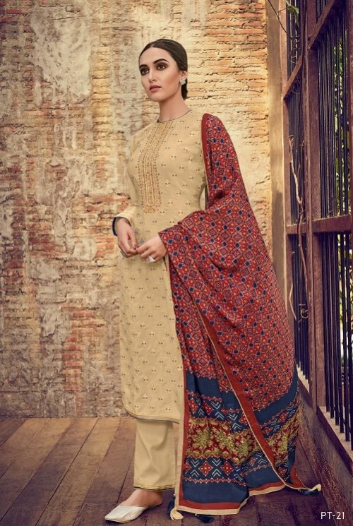 Varsha Fashions Presents Patola 2 Pure Upada Weave With Embroidery Salwar Suit PT-21