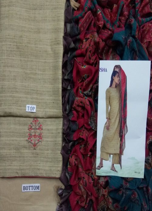 Varsha Present Mehr Khadi With Embroidery Suit MH 22