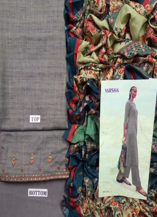 Varsha Present Mehr Khadi With Embroidery Suit MH 24