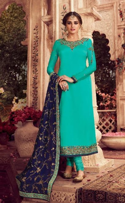 Zisa Presents Vol 62 Satin Georgette With Embroidery Work Designer Partywear Churidar Suit 11271