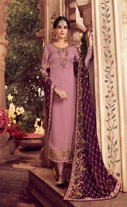 Zisa Presents Vol 62 Satin Georgette With Embroidery Work Designer Partywear Churidar Suit 11272