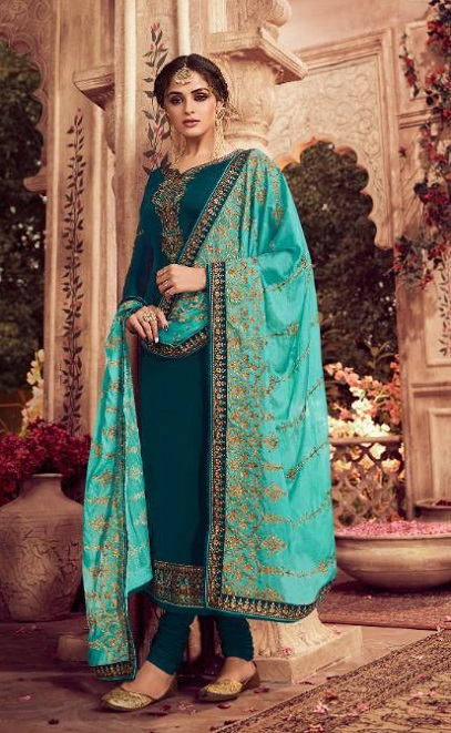 Zisa Presents Vol 62 Satin Georgette With Embroidery Work Designer Partywear Churidar Suit 11273