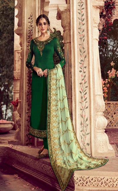 Zisa Presents Vol 62 Satin Georgette With Embroidery Work Designer Partywear Churidar Suit 11274