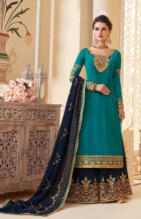 Aashirwad Presents Suhani Real Georgette With Work Designer Partywear Sharara Suit 7065