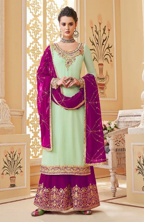 Aashirwad Presents Suhani Real Georgette With Work Designer Partywear Sharara Suit 7066
