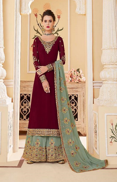 Aashirwad Presents Suhani Real Georgette With Work Designer Partywear Sharara Suit 7067