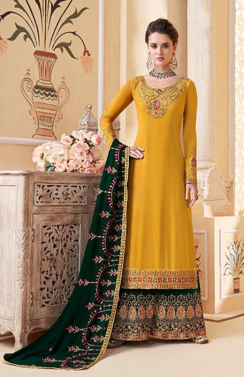 Aashirwad Presents Suhani Real Georgette With Work Designer Partywear Sharara Suit 7068