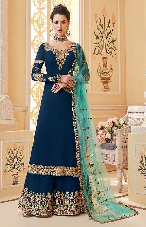 Aashirwad Presents Suhani Real Georgette With Work Designer Partywear Sharara Suit 7069