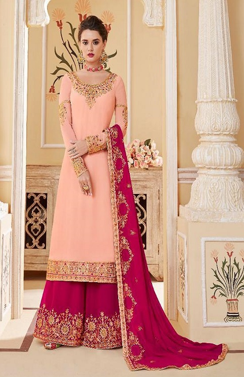 Aashirwad Presents Suhani Real Georgette With Work Designer Partywear Sharara Suit 7070