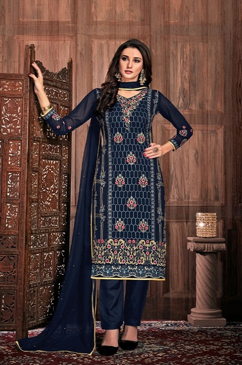 Bela Fashion Presents Presia Georgette With Embroidery Work Designer Unstitched Ladies Salwar Suit 641