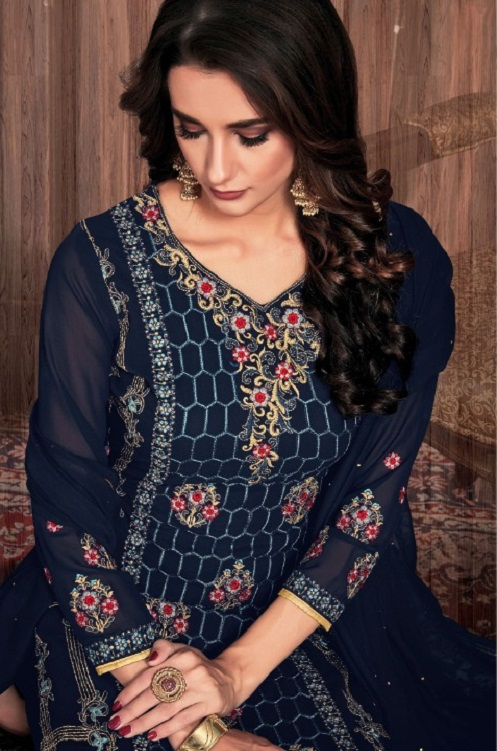 Bela Fashion Presents Presia Georgette With Embroidery Work Designer Unstitched Ladies Salwar Suits 641