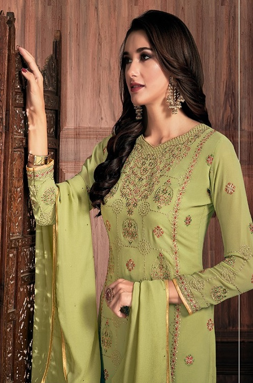 Bela Fashion Presents Presia Georgette With Embroidery Work Designer Unstitched Ladies Salwar Suits 642